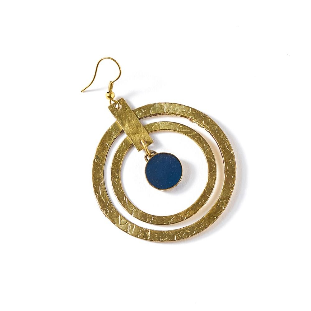 Ria Earrings - Cobalt Hoop - Matr Boomie