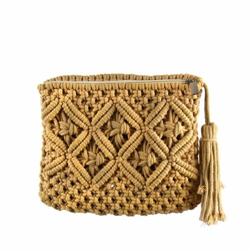 Macrame Clutch with Tassel, Tan