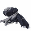 Grey and Black Striped Cotton Scarf with Fringe