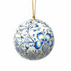 Handpainted Light Grey and Blue Floral Papier Mache Hanging Ball Ornament
