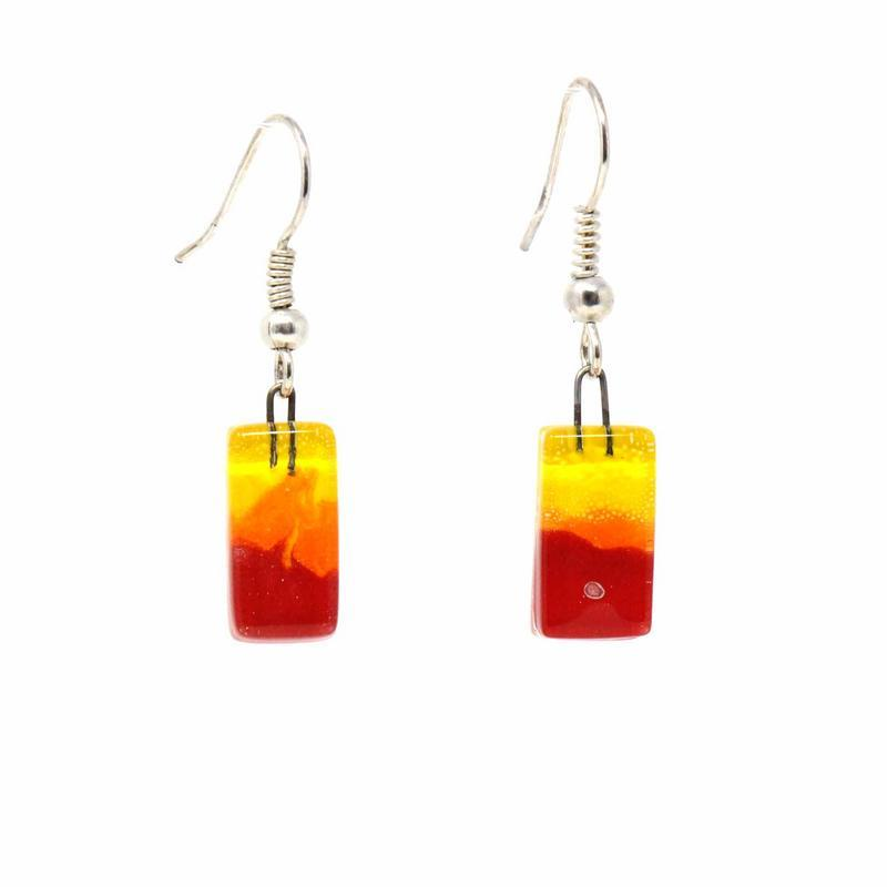 Fire Design Small Glass Earrings - Tili Glass