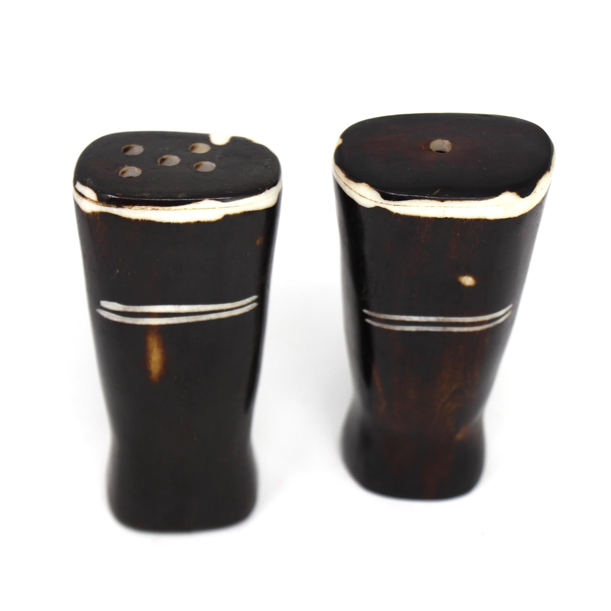 African Natural Bone Salt & Pepper Shakers, White Etch Design on Dark
