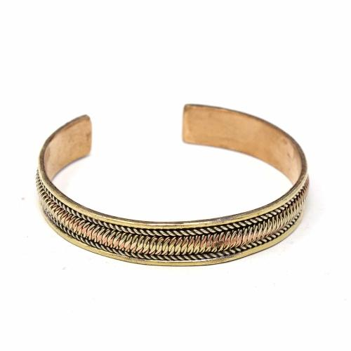Copper and Brass Cuff Bracelet: Healing Path - DZI (J)