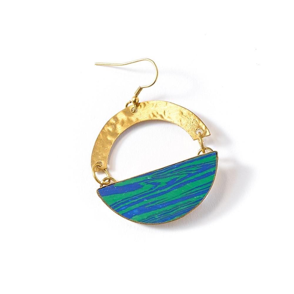 Ria Earrings - Blue Green Swirl - Matr Boomie