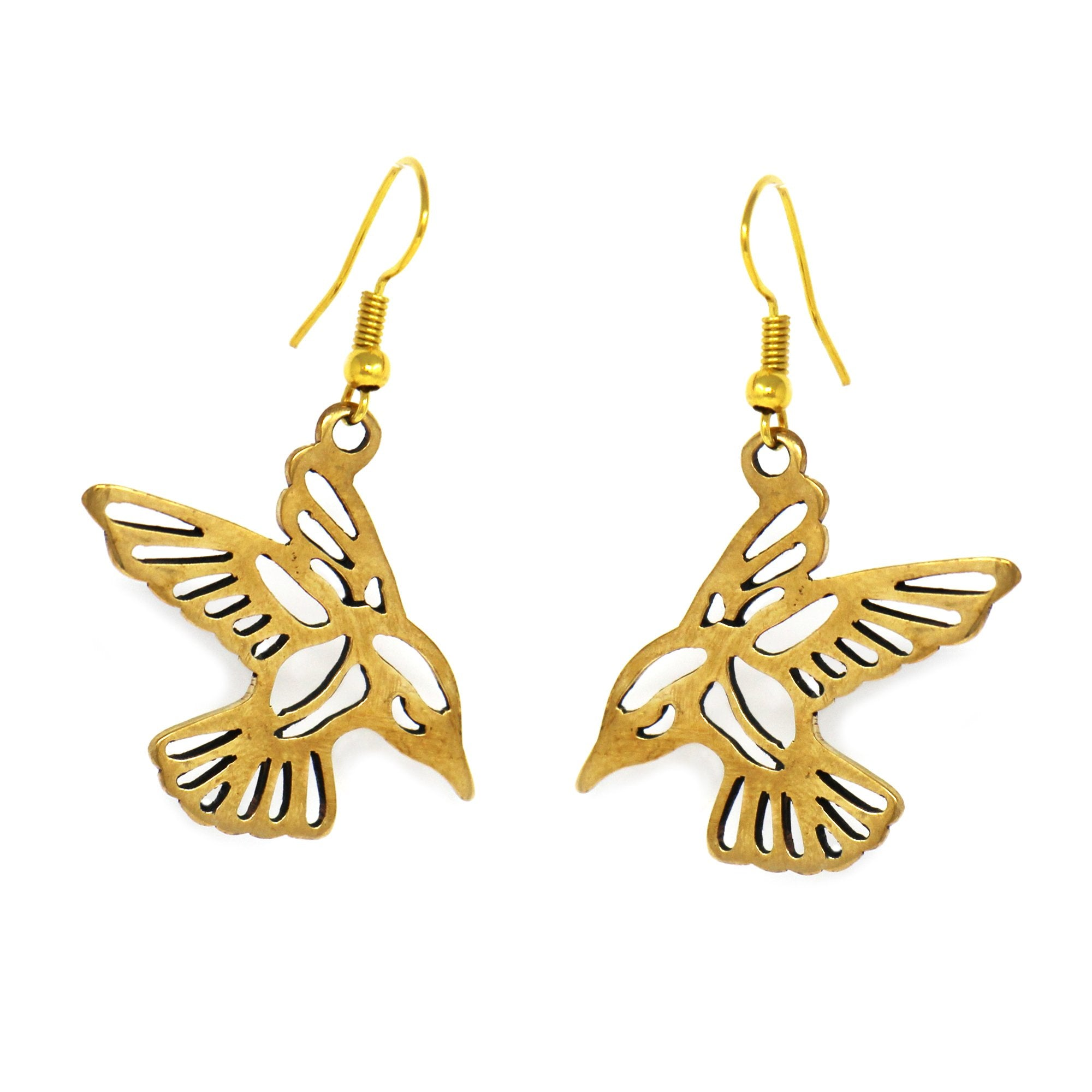 Pair of Birds in Tumbaga Gold Drop Earrings