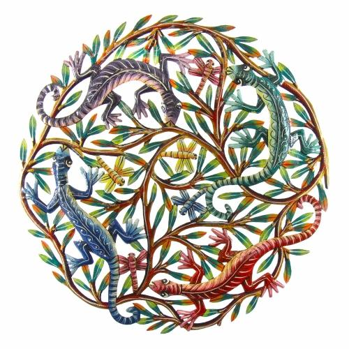 Four Geckos Painted Metal Wall Art - Croix des Bouquets