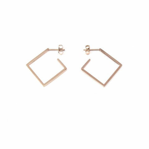 Rose Gold Plated 2D Diamond Shape Earrings - Starfish Project