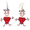 Set of 10 Dancing Heart Earrings in Red
