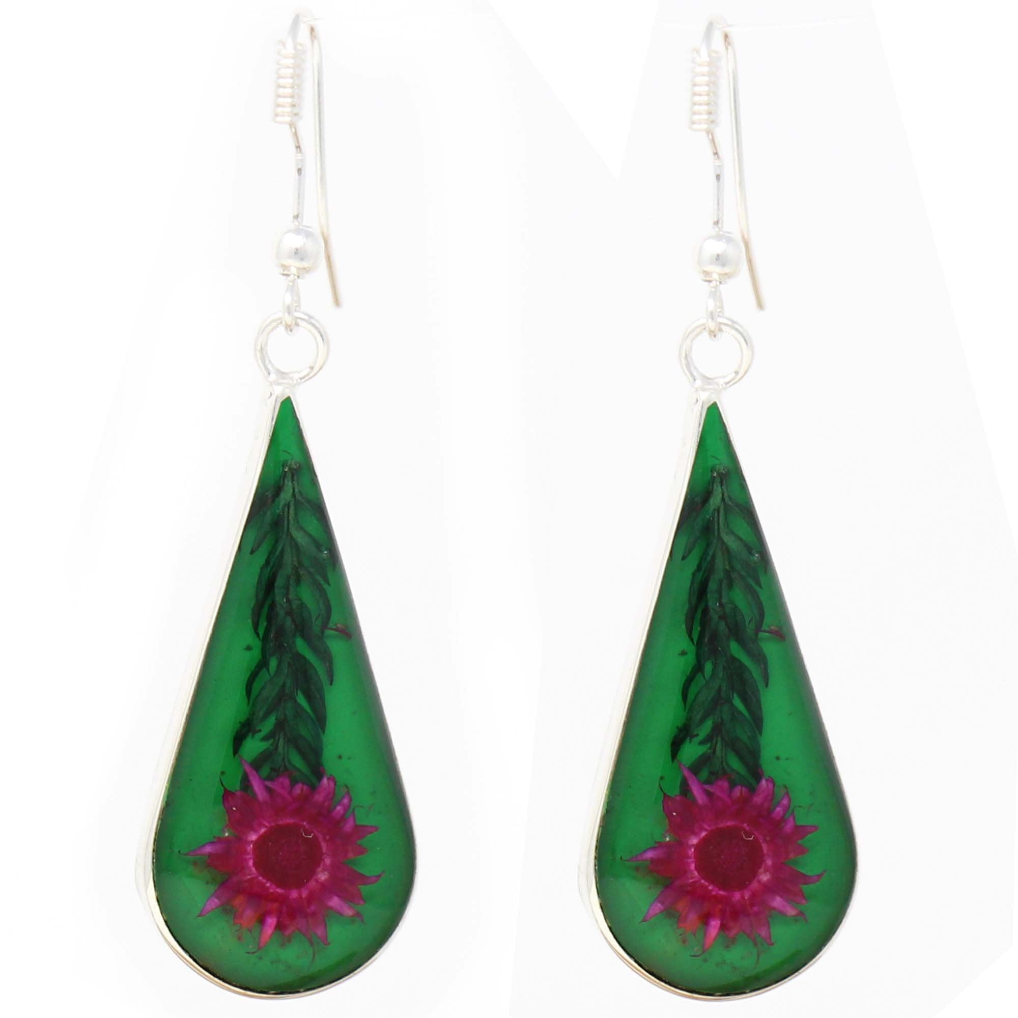 Pink Pressed Flower Teardrop Earrings