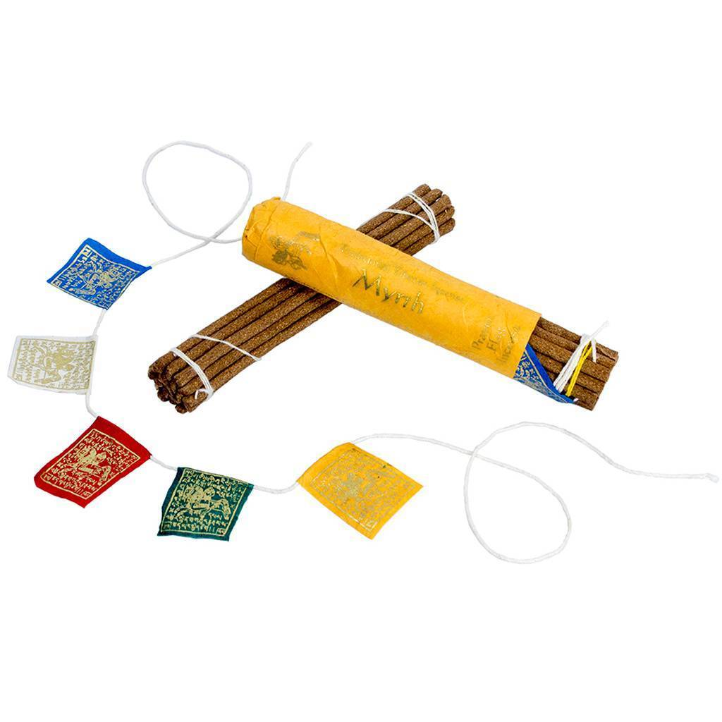 Prayer Flag and Incense Roll - Myrrh - DZI (Meditation)