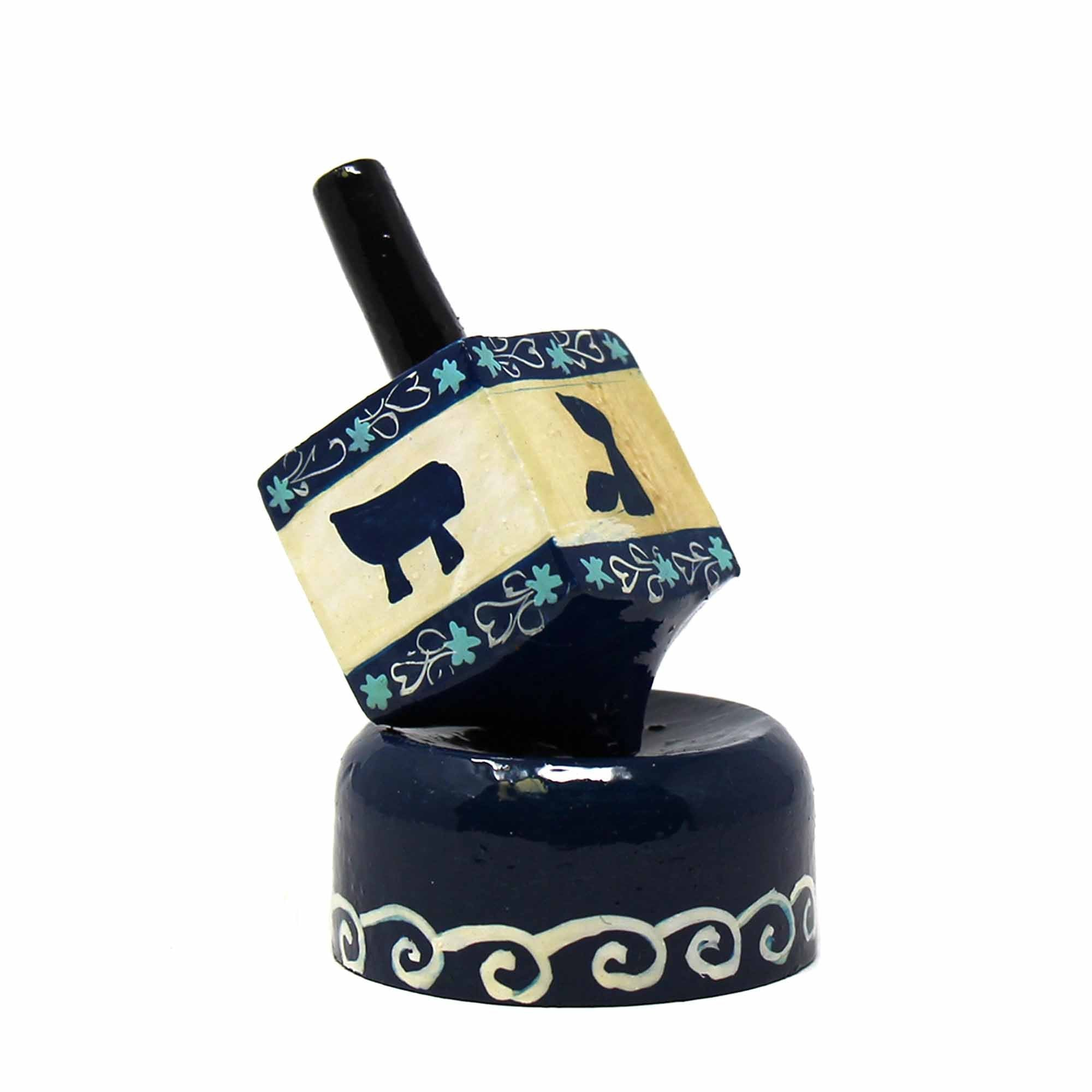 Handpainted Paper Mache Dreidel with Blue Wood Base