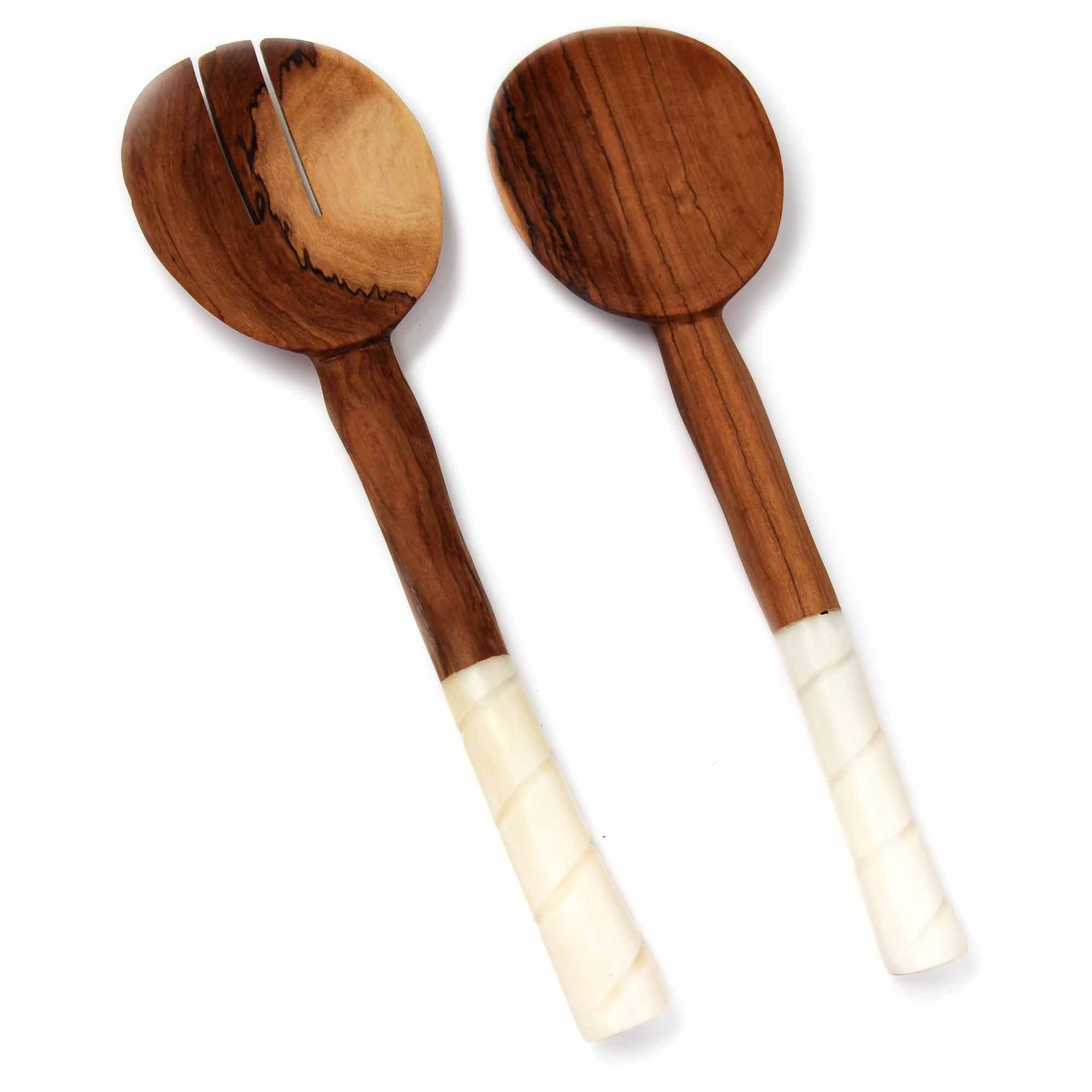 Olive Wood Salad Servers with Bone Handles, White with Etching Design