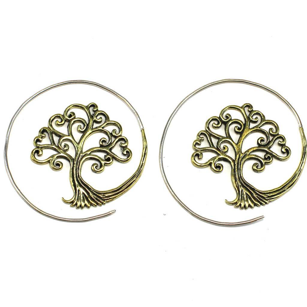 Brass Full Moon Tree of Life Spiral Earrings - DZI (J)