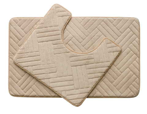 2PC Memory Foam Bath Mat Set - Beige