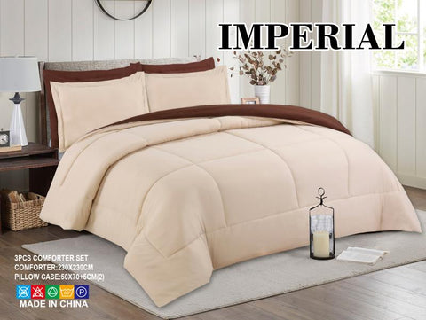 Imperial Home - Reversible 3PC Comforter Set - Coffee/Beige