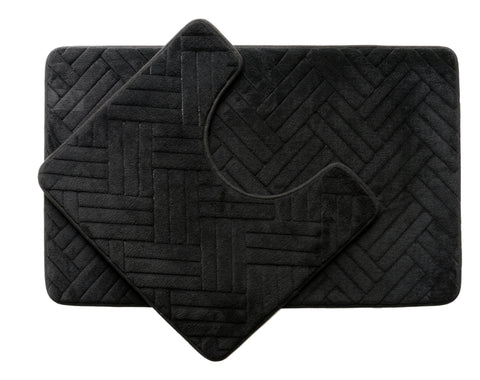 2PC Memory Foam Bath Mat Set - Black