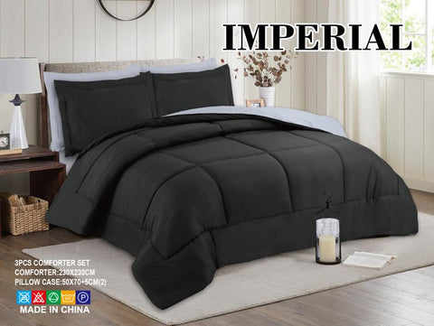 Imperial Home - Reversible 3PC Comforter Set - Black/Grey