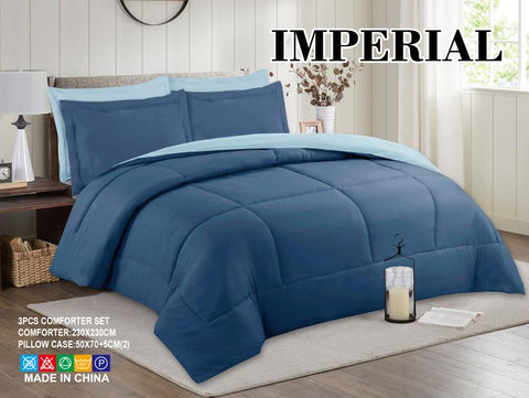 Imperial Home - Reversible 3PC Comforter Set - Blue/Ice