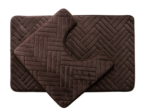 2PC Memory Foam Bath Mat Set - Dark Brown