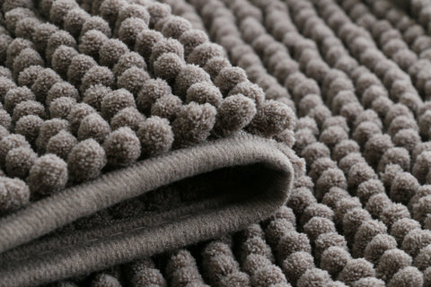 Chenille Microfiber Floor/Bathroom Mat - Dark Grey