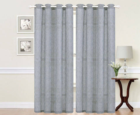 Imperial Home-Embroidered Evelyn Semi-Sheer Grommet Single Curtain Panel