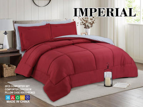 Imperial Home - Reversible 3PC Comforter Set - Red/Grey