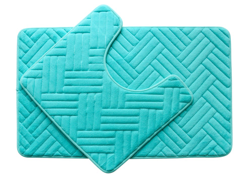 2PC Memory Foam Bath Mat Set - Aqua