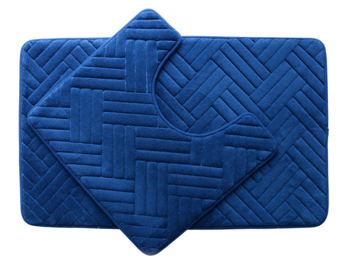 2PC Memory Foam Bath Mat Set - Navy