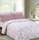 Imperial Bamboo Printed 6-Piece Sheet Set - White/Pink Floral Blossom