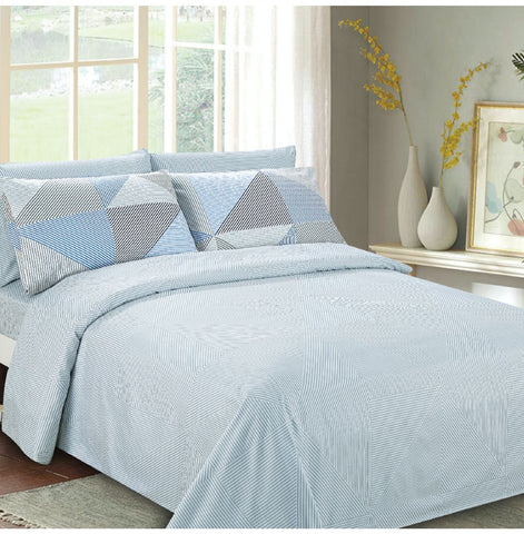 Imperial Bamboo Printed 6 Piece Sheet Set - Blue Diamond