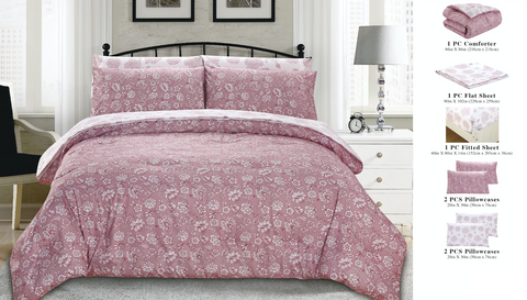 7 Piece Bed-In-A-Bag Reversible Complete Bedding Set - White/Pink Floral Blossom