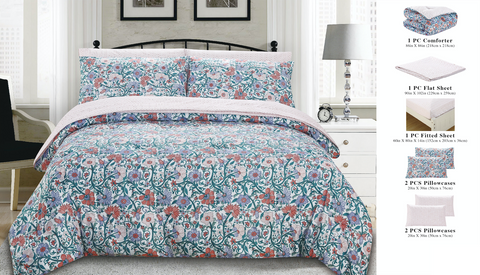 7 Piece Bed-In-A-Bag Reversible Complete Bedding Set - Floral Garden