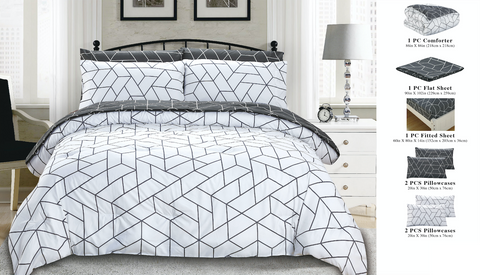 7 Piece Bed-In-A-Bag Reversible Complete Bedding Set - Geometric