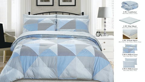 7 Piece Bed-In-A-Bag Reversible Complete Bedding Set - Blue Diamond