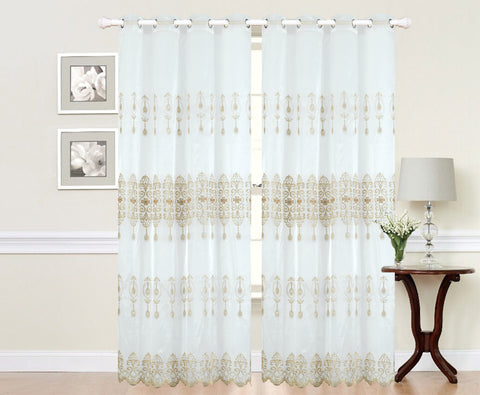 Imperial Home-Embroidered Vianna Semi-Sheer Grommet Single Curtain Panel