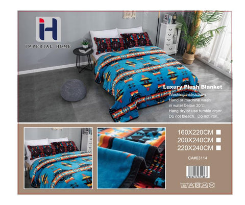 Imperial Home -Super Soft Reversible Heavy Bedding Blanket - Navajo Blue