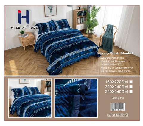 Imperial Home -Super Soft Reversible Heavy Bedding Blanket - Blue