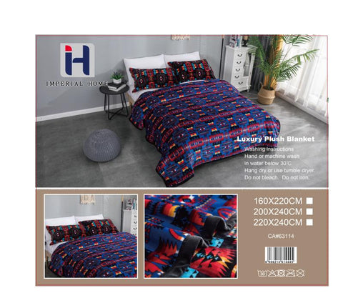 Imperial Home -Super Soft Reversible Heavy Bedding Blanket - Navajo Navy
