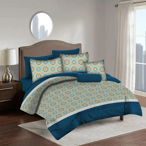 Imperial Home Printed 6-Piece Bedsheet Set - Bright Blue
