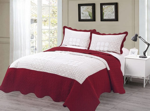 Embroidered 3 Piece Bed Quilt/ Bedspread/ Coverlet - Red/White