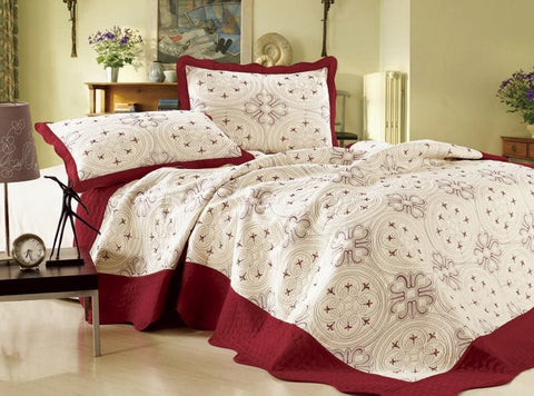 Embroidered 3 Piece Bed Quilt/ Bedspread/ Coverlet - White/Red
