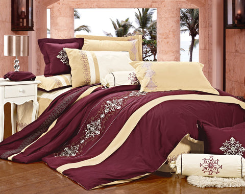 Imperial- 9 Piece Embroidered Comforter Set- Beige/Red