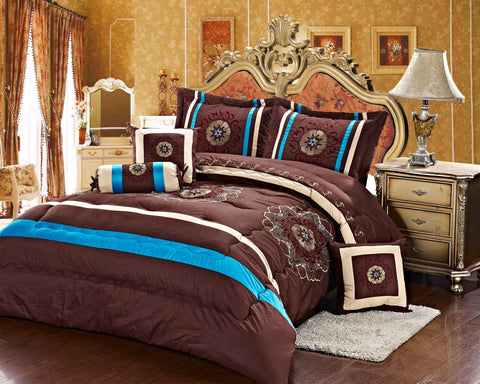 Imperial- 9 Piece Embroidered Comforter Set- Brown/Blue