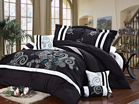 Imperial- 9 Piece Embroidered Comforter Set- Black