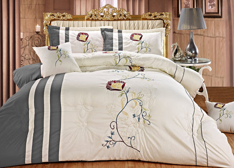 Imperial- 9 Piece Embroidered Comforter Set- Cream White