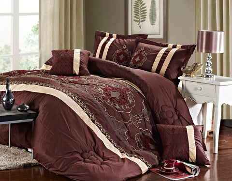 Imperial- 9 Piece Embroidered Comforter Set- Brown
