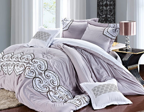 Imperial- 9 Piece Embroidered Comforter Set- Gray