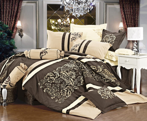 Imperial- 9 Piece Embroidered Comforter Set- Beige/Brown
