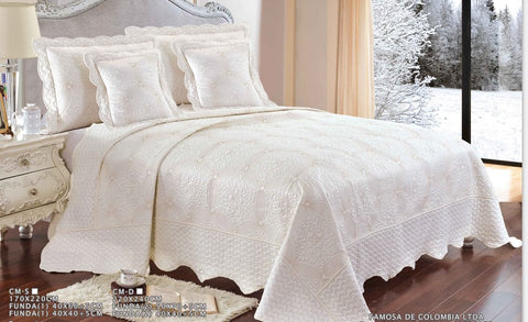 Embroidered 3 Piece Bed Quilt/ Bedspread/ Coverlet - White Flower