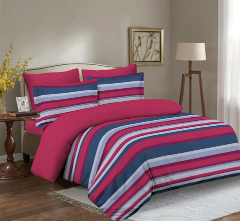 Imperial Home Printed 6-Piece Bedsheet Set - Red/Navy